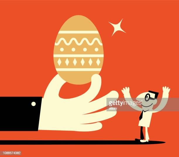 big hand giving big gold easter egg to man - animal egg stock illustrations, clip art, cartoons, & icons