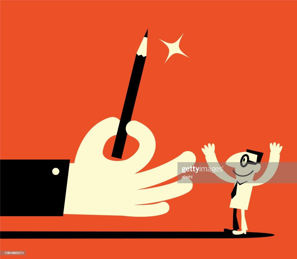 Big hand giving pencil to man : stock illustration