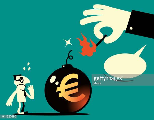 Big hand holding a matchstick (match in fire) and igniting a big bomb with explosive fuse (dynamite) and euro sign (european union currency), the businessman is very scared