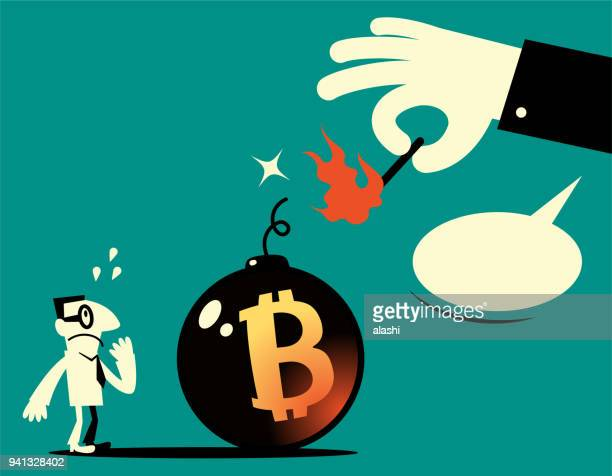 Big hand holding a matchstick (match in fire) and igniting a big bomb with explosive fuse (dynamite) and Bitcoin sign, the businessman is very scared, Bitcoin mining (cryptocurrency mining)