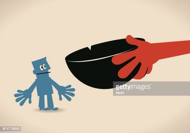 big hand of beggar with bowl begging for help (money, rice) - cartoon hobo stock illustrations