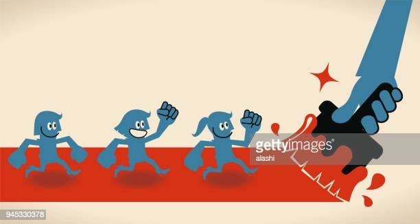 big hand painting a road by paintbrush, group of people (three business women) running on the way - three people stock illustrations