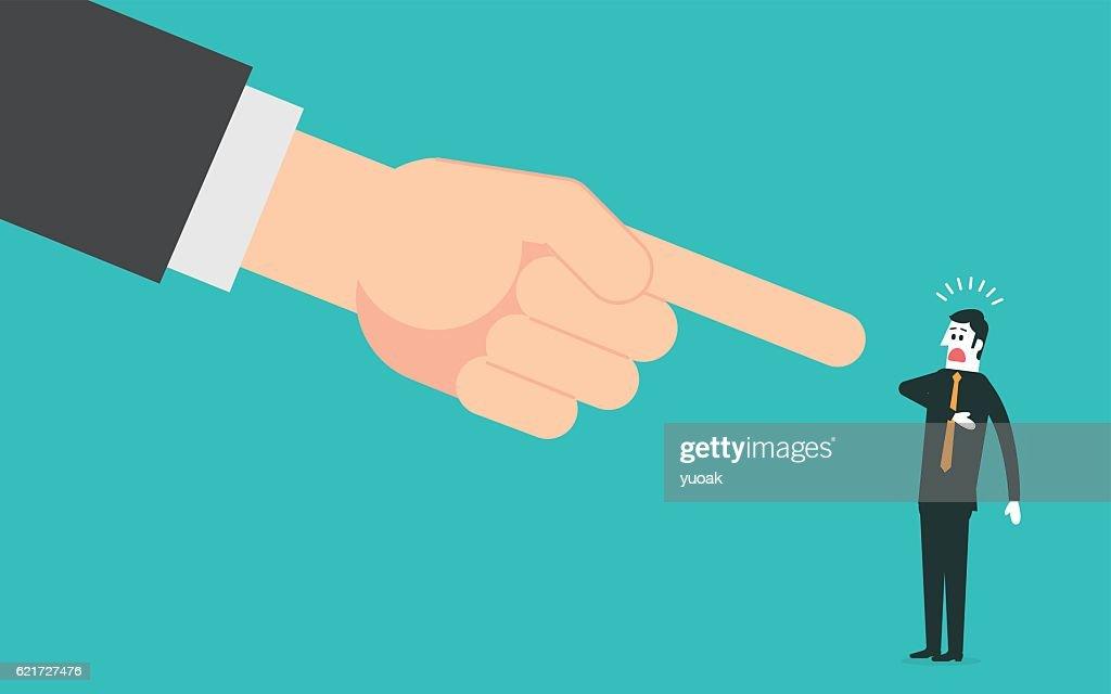 Big hand pointing a businessman : stock illustration