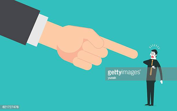 big hand pointing a businessman - blame stock illustrations