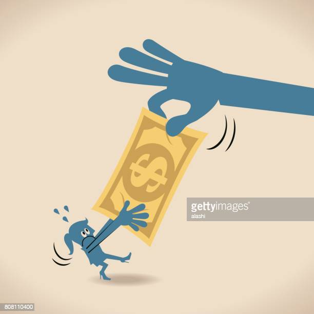 Big hand robbing (seizing; stealing) money (Dollar) from woman (businesswoman)