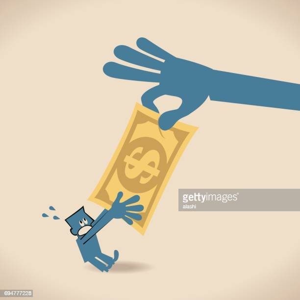 大きな手 (強制; 盗む) を奪ってお金 (ドル)