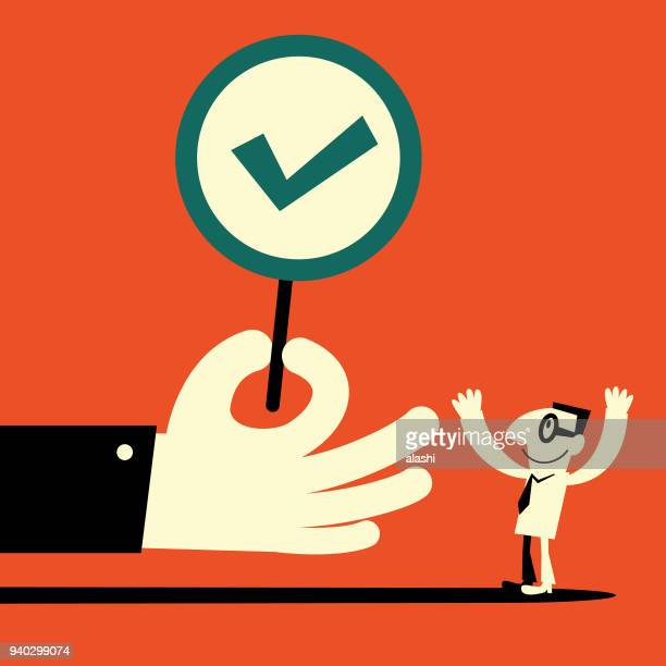 big hand showing a tick sign (right mark) to a  businessman - permission concept stock illustrations