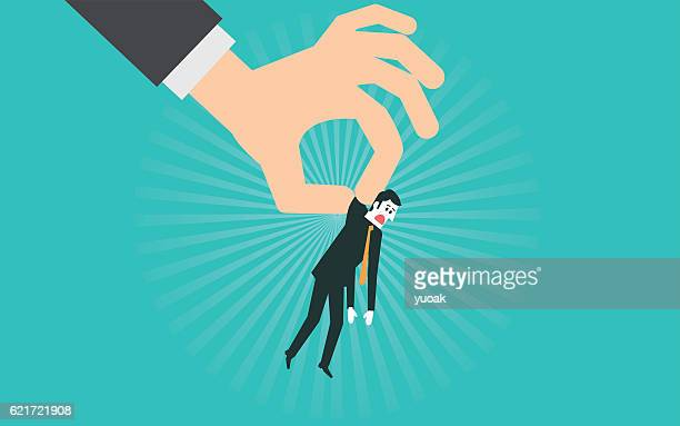 big hand throwing a businessman - flaccid stock illustrations, clip art, cartoons, & icons