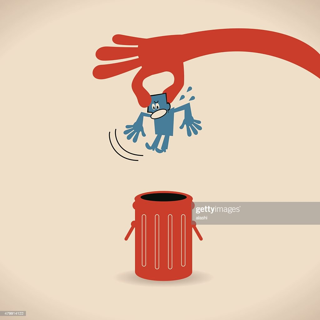 Big hand throwing (putting) man (businessman) into trash can