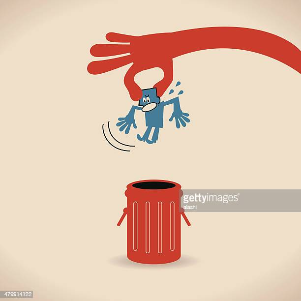 big hand throwing (putting) man (businessman) into trash can - flaccid stock illustrations, clip art, cartoons, & icons