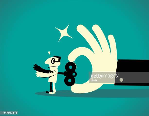 big hand turning a wind-up key on a businessman back - fool stock illustrations, clip art, cartoons, & icons