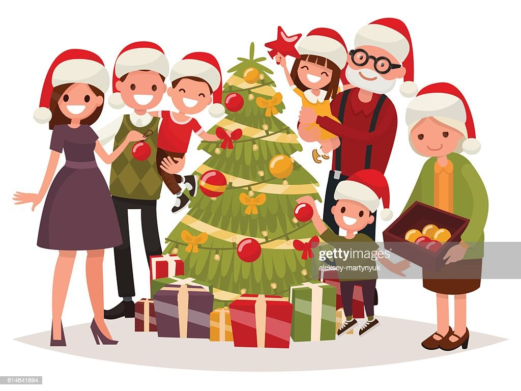 Big happy family decorates the Christmas tree. Vector illustration