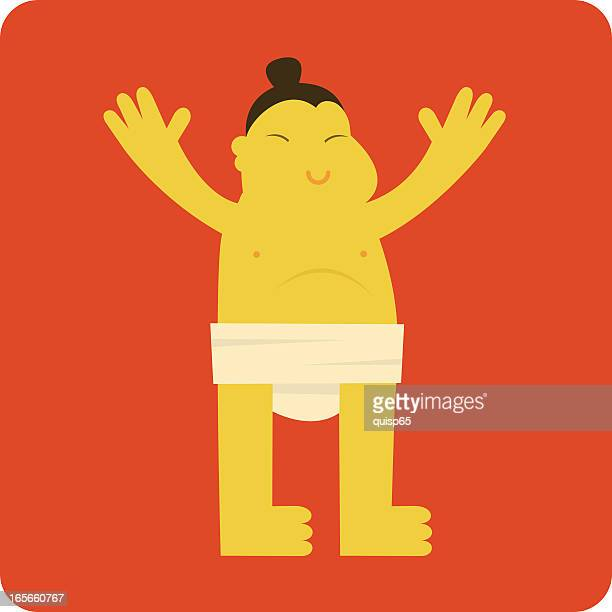 big happy sumo - only japanese stock illustrations, clip art, cartoons, & icons