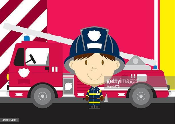 ilustrações de stock, clip art, desenhos animados e ícones de grande chefe de bombeiro e carro de bombeiro - corpo de bombeiros