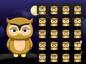 Big Head Owl Cartoon Emotion faces Vector Illustration