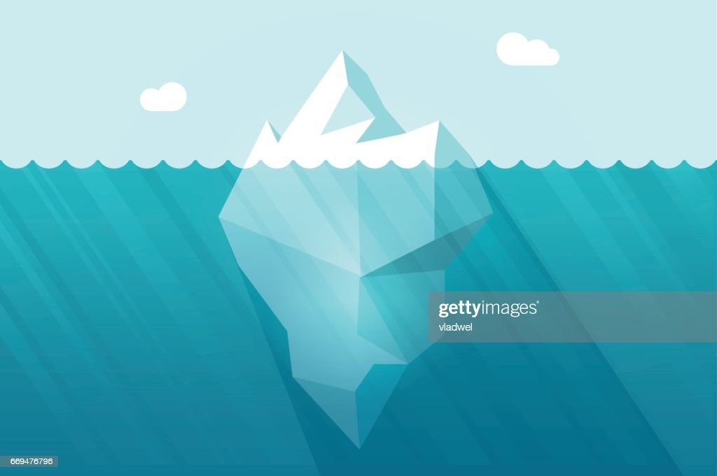Big iceberg floating on water waves with underwater part vector illustration