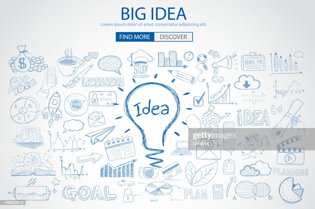 Big Idea concept with Doodle design style