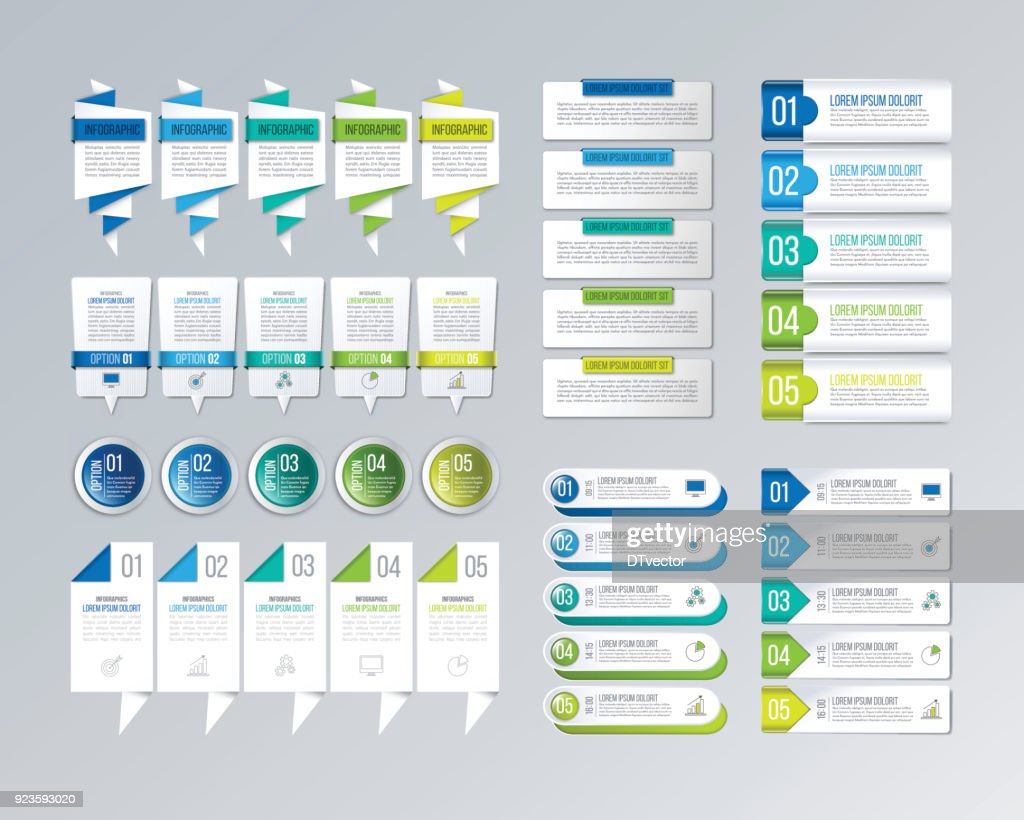 Big infographics set. Creative business concept with 5 options.
