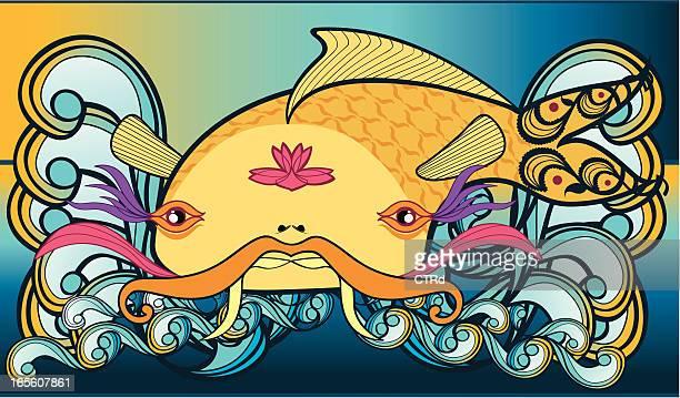 illustrations, cliparts, dessins animés et icônes de big japonais carpe koï - carpe