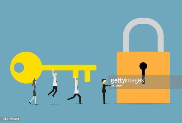 ilustrações, clipart, desenhos animados e ícones de chave grande para o alvo - chave