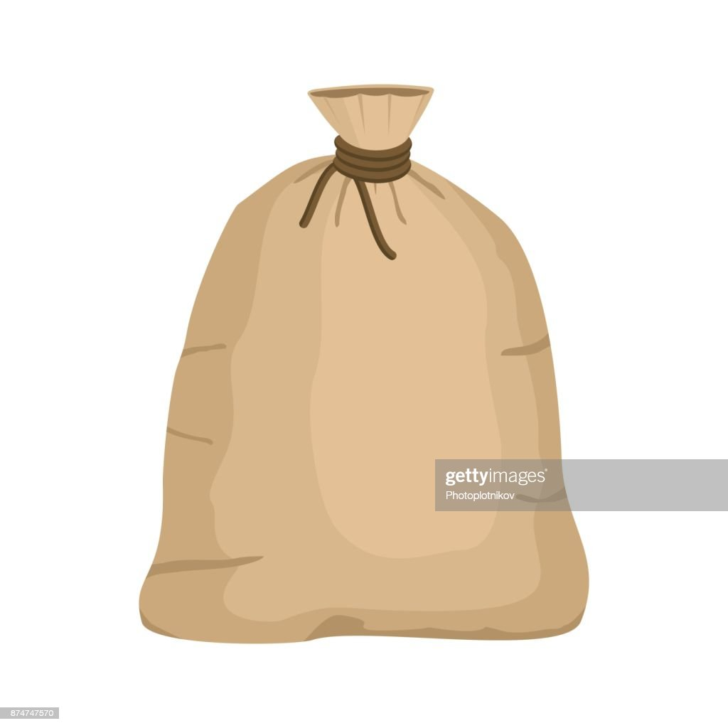 Big knotted sack full isolated on white background. Brown textile bag of potatoes or grain. Canvas sack closeup