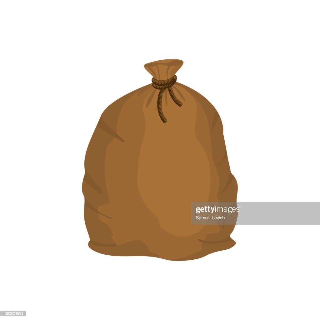 Big knotted sack of grain. Brown textile bag of potatoes. Farm object