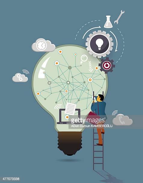 big light bulb - access control stock illustrations, clip art, cartoons, & icons