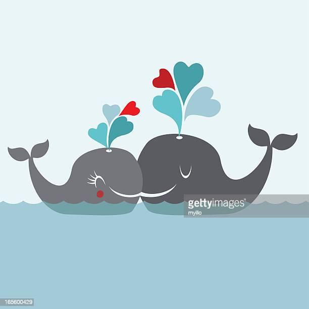 illustrations, cliparts, dessins animés et icônes de big de l'amour. baleine cœur sourire heureux illustration vectorielle de la mer - baleine