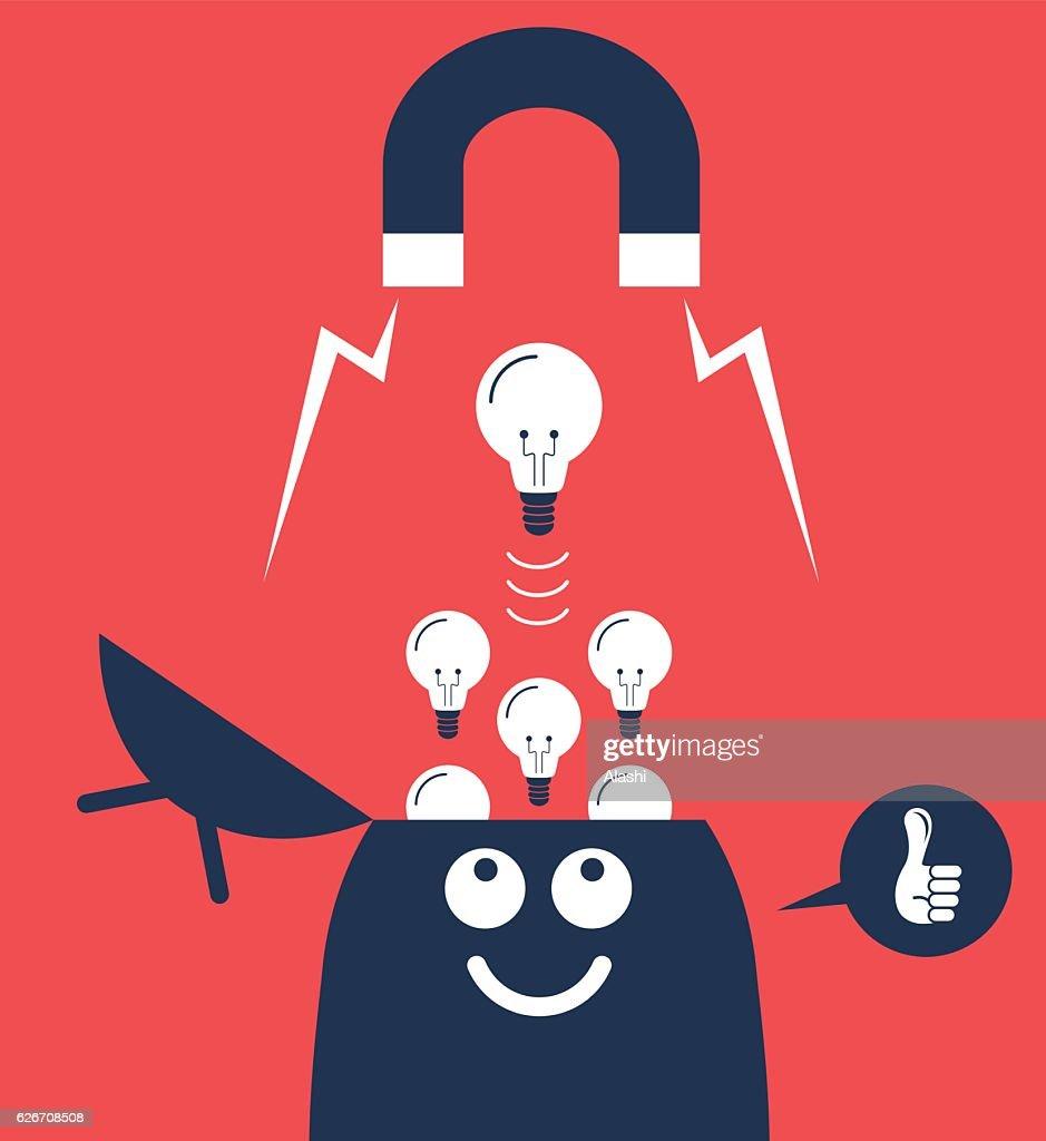 big magnet attracting light bulbs idea from open head vector art