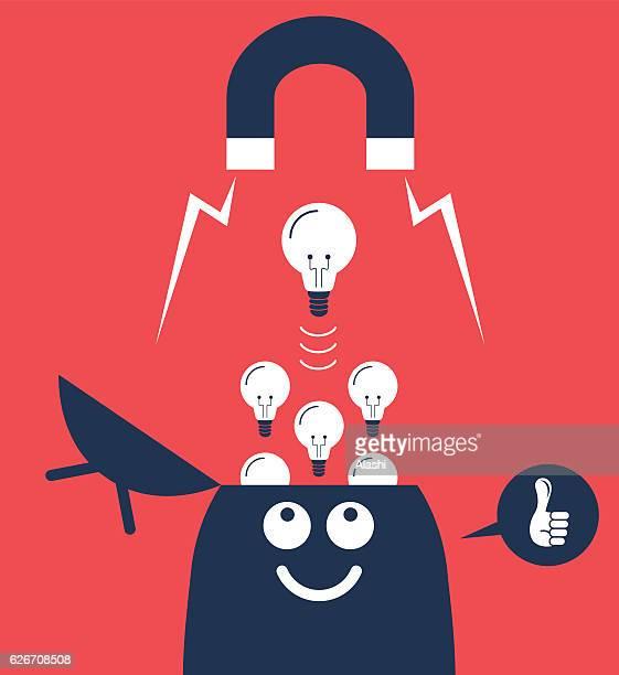 Big magnet attracting light bulbs idea from open head