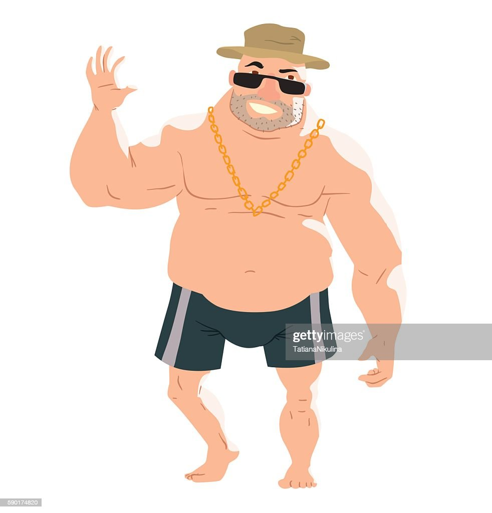 Big man on the beach
