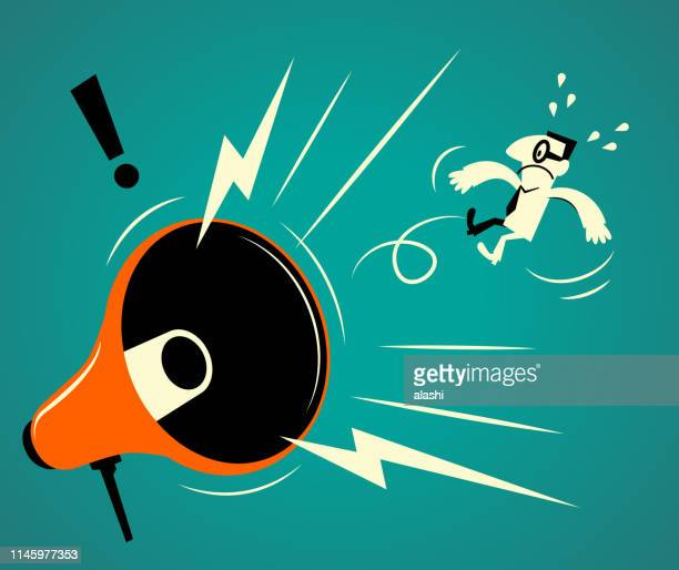 big megaphone shouting at a businessman - anti bullying symbols stock illustrations