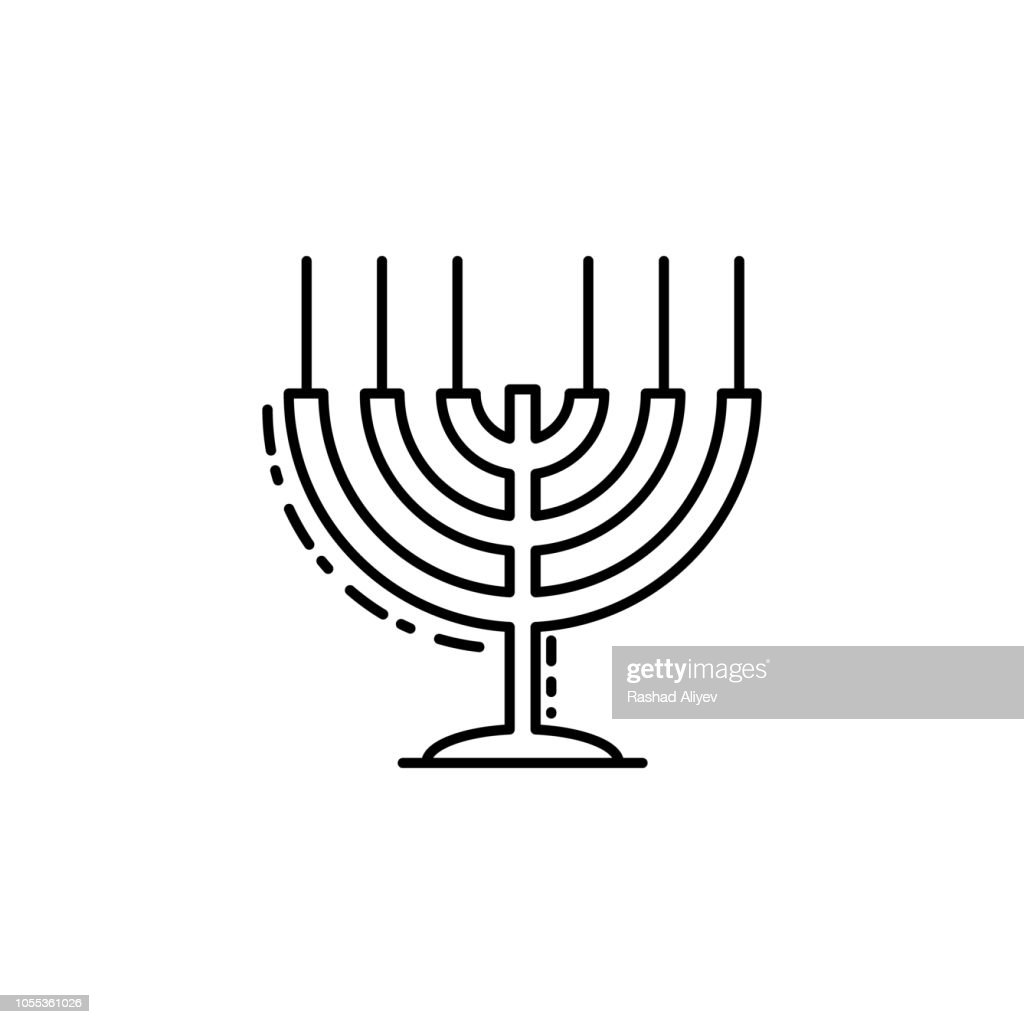 Big Menorah  icon. Element of Jewish icon for mobile concept and web apps. Thin line Big Menorah  icon can be used for web and mobile