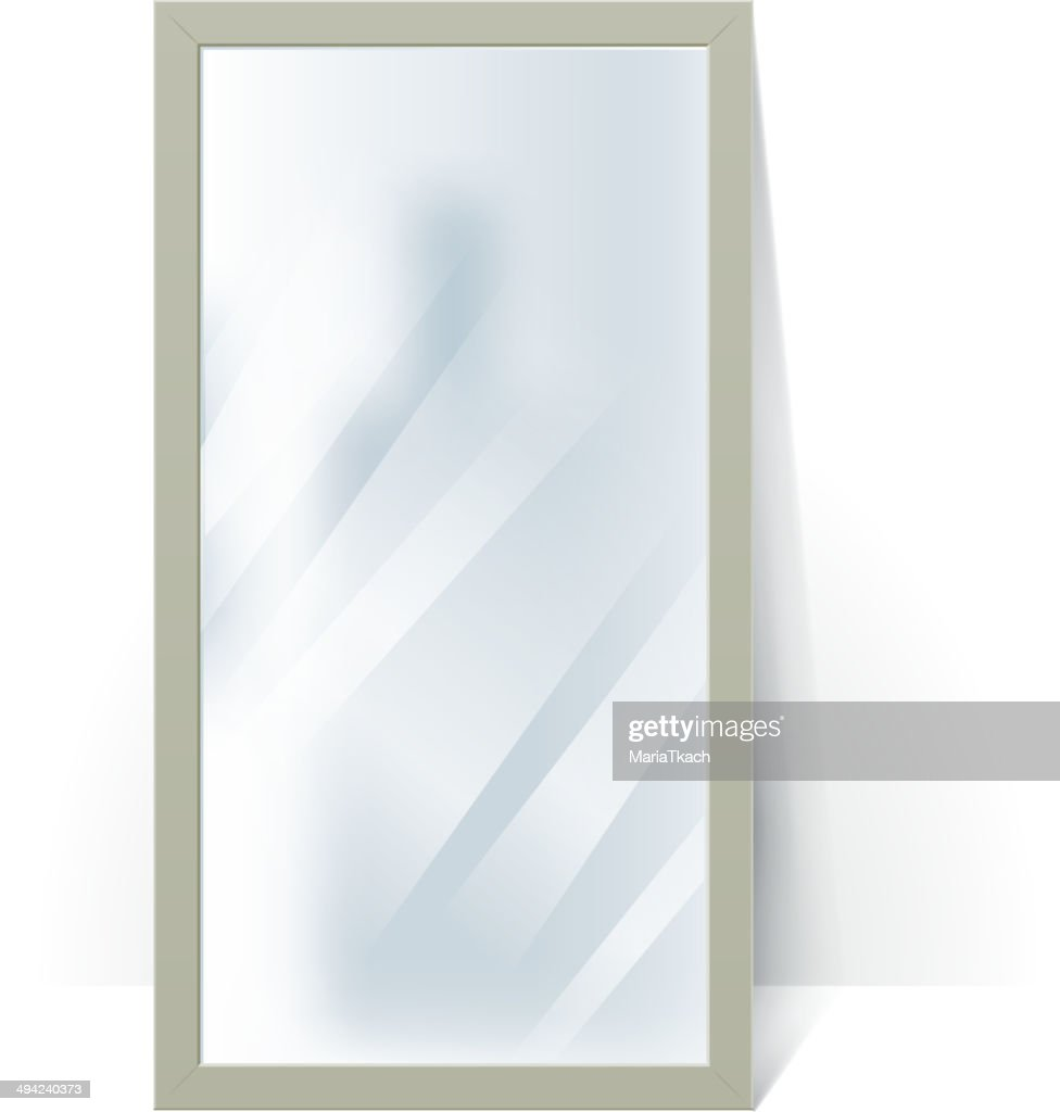Big mirror with blurry reflection at the wall illustration.