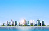 big modern city building skyscraper panoramic view sunrise cityscape background skyline flat horizontal