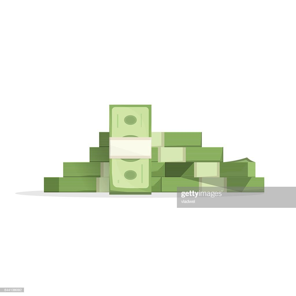 Big money pile vector, heap of cash flat cartoon isolated