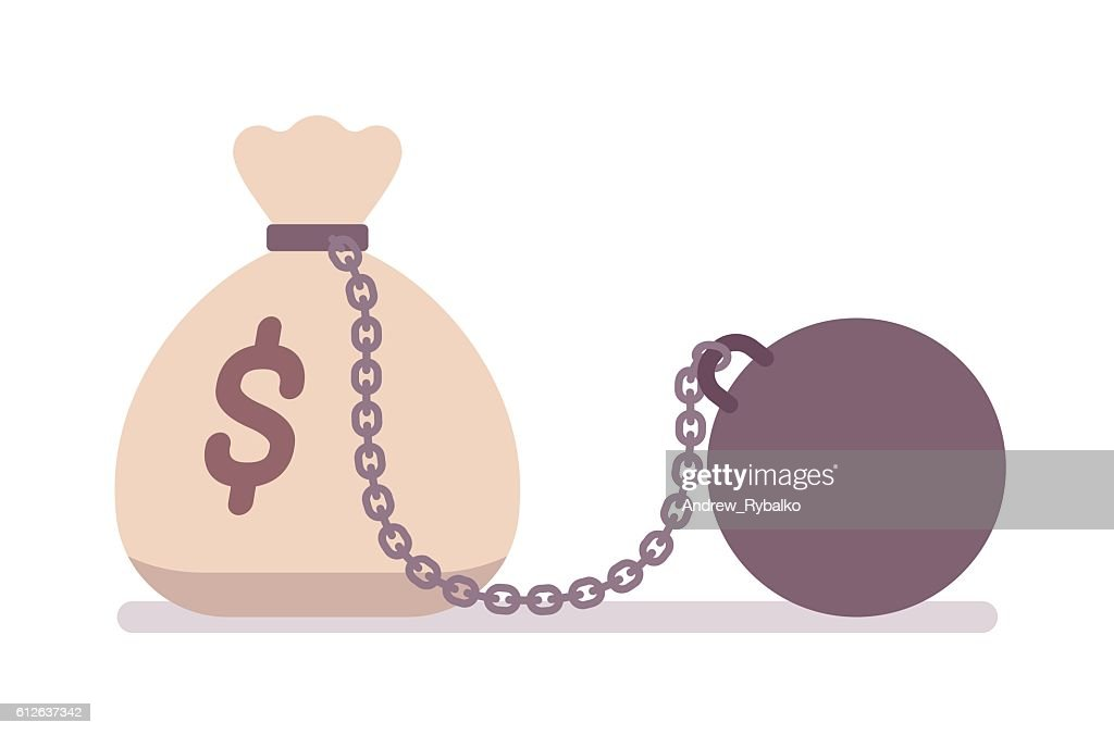 Big money sack on a metal chain with weight