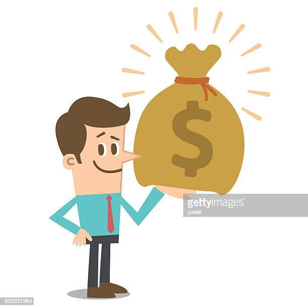 ilustraciones, imágenes clip art, dibujos animados e iconos de stock de big dinero - bolsa de dinero