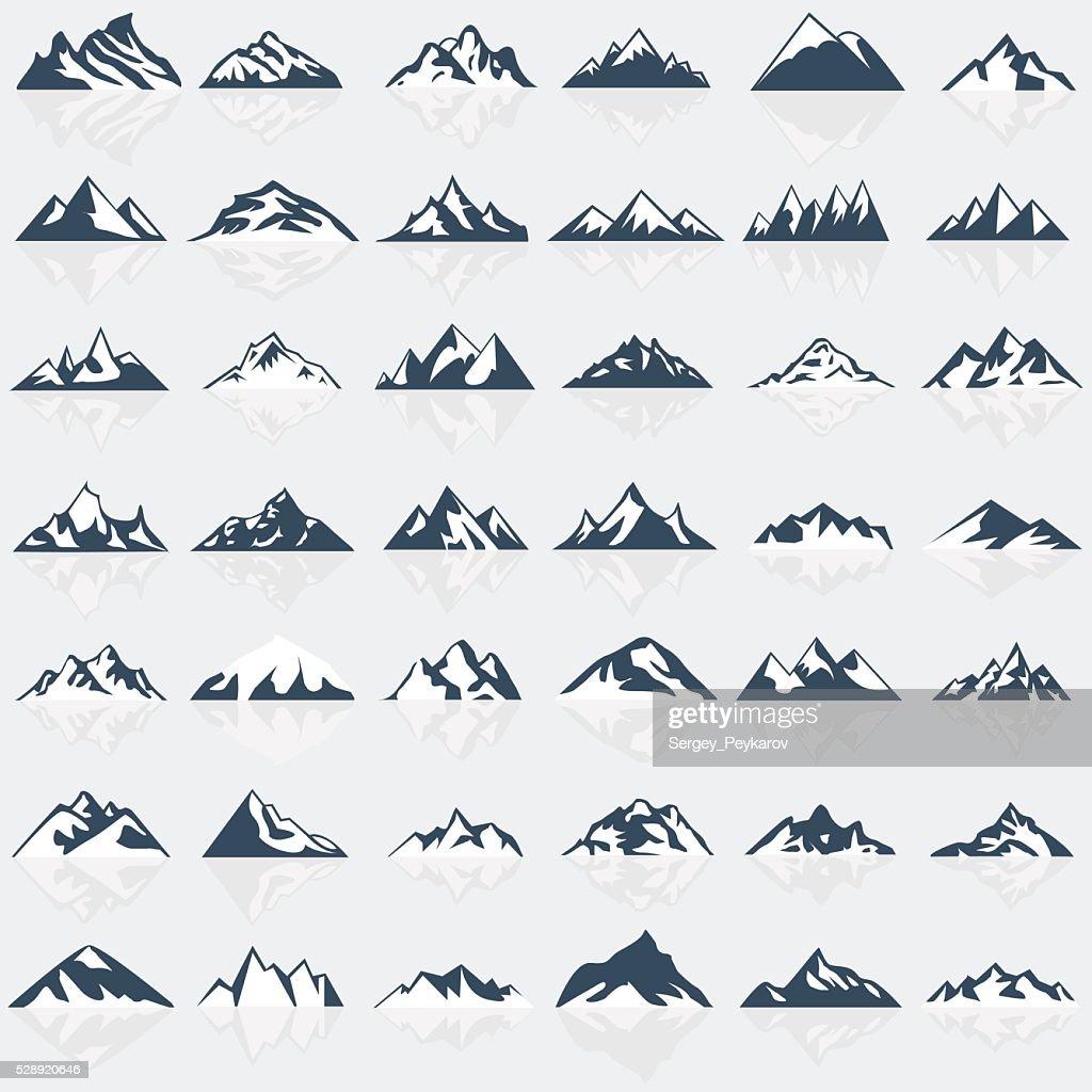 Big mountain icons set.