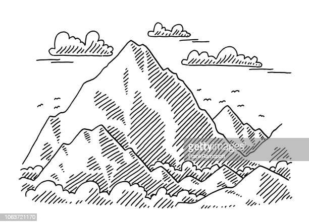 big mountain landscape drawing - tall high stock illustrations