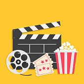 Big movie reel Open clapper board Popcorn box package Ticket Admit one. Three star. Cinema icon set. Yellow background. Flat design style.