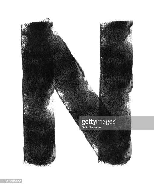 big n alphabet letter isolated on white paper background - abstract vector illustration painted slowly and carefully with three straight lines - uneven imperfect irregular bad painted sign - irregular texturizado stock illustrations