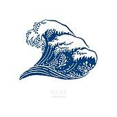 Big Navy Blue Wave Japanese Style