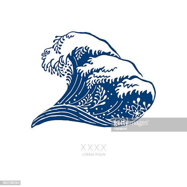 big navy blue wave japanese style - japanese culture stock illustrations