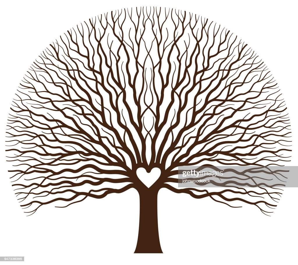 Big oak heart tree illustration : stock illustration