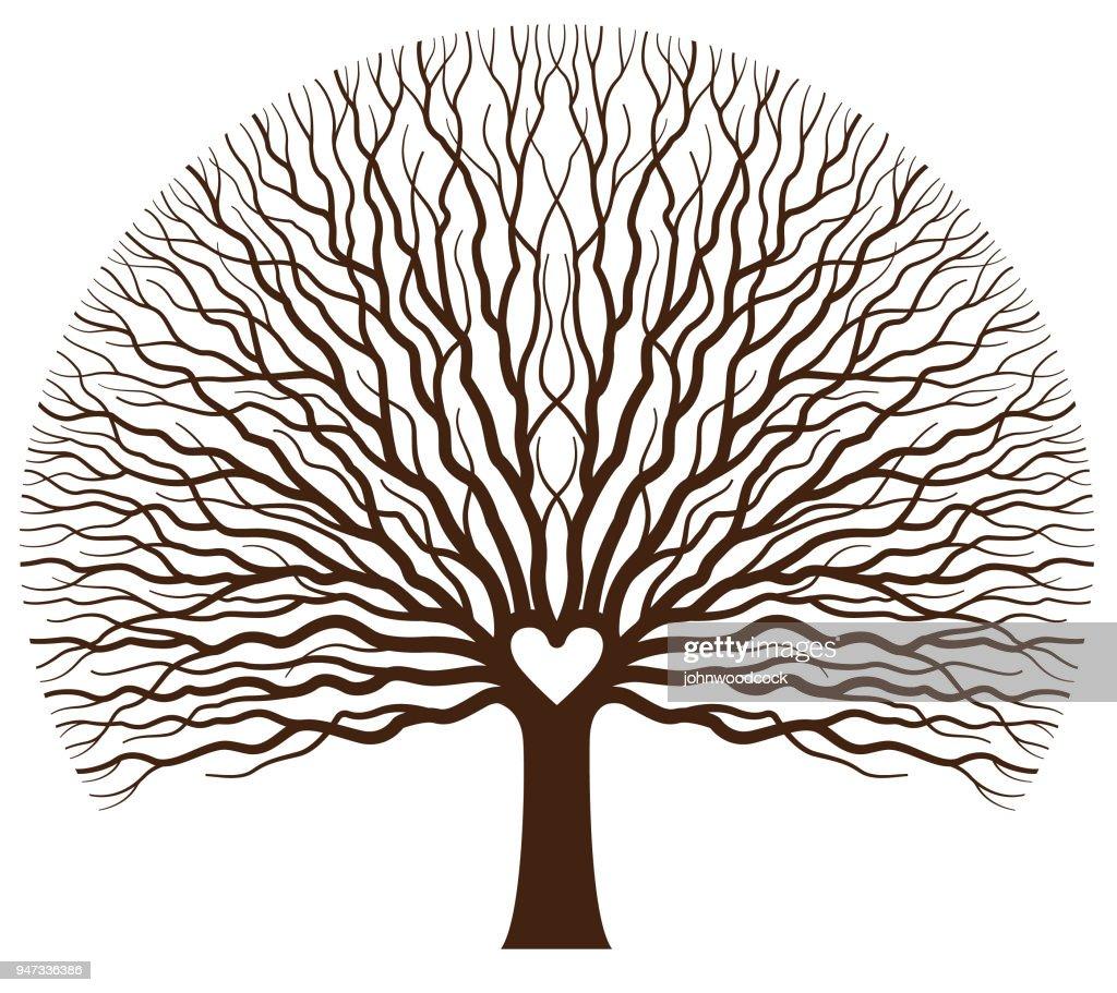 Big oak heart tree illustration