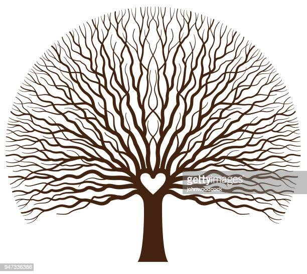 big oak heart tree illustration - root stock illustrations, clip art, cartoons, & icons
