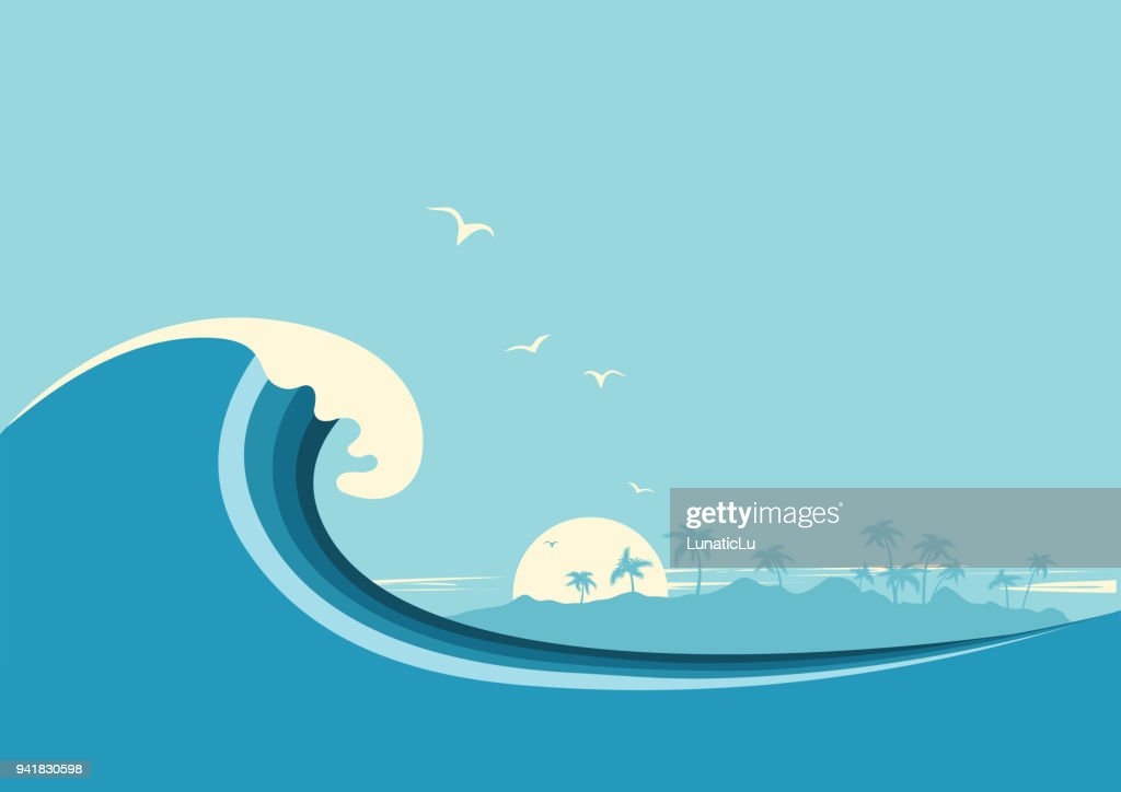 Big ocean wave and tropical island.Vector blue background