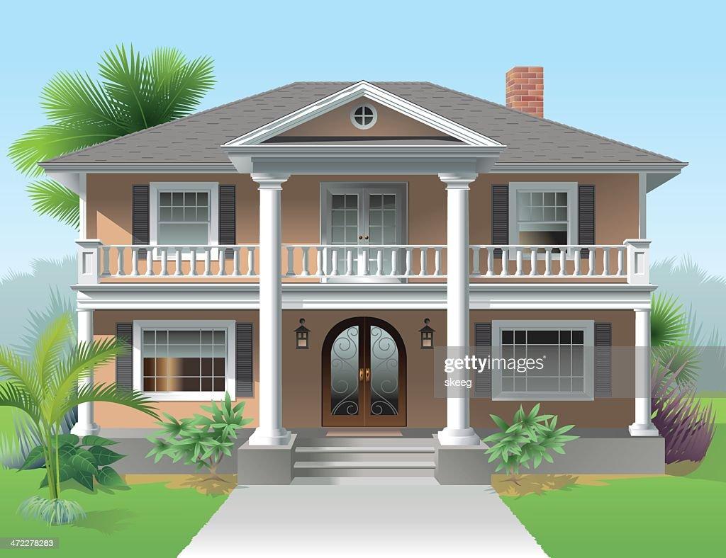 Big Orange House Landscaped : stock illustration