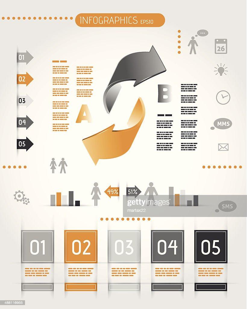 big orange infographics with two arrows